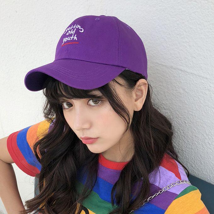 Summer Womens Lovely Baseball Caps 2018 Korean Ulzzang Harajuku Chic  Letters Purple Snapback Hip Hop Ca Women Couple Sun Hats Hat Stores Custom  Trucker Hats ... 5203d609337