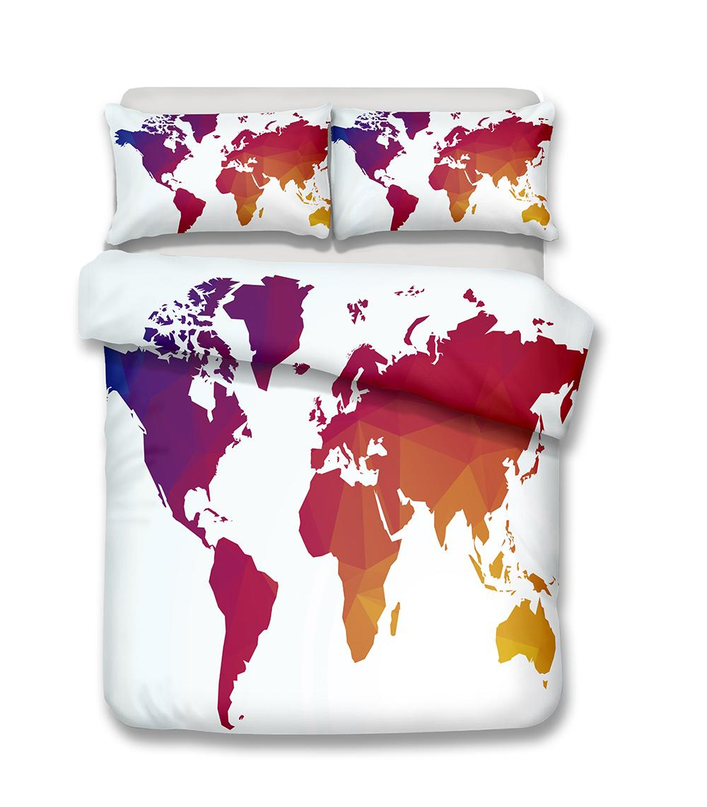 Colorful world map pattern oil painting printed bedclothes sets all colorful world map pattern oil painting printed bedclothes sets all sizes duvet cover bedding 3d bed duvet set bedding set online with 5347piece on gumiabroncs Gallery