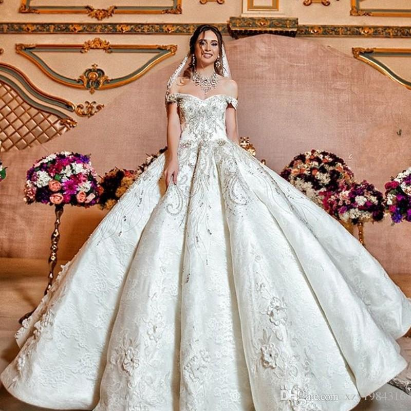 Charming Lace Ball Gown Wedding Dress Crystal Beads Off Shoulder ...