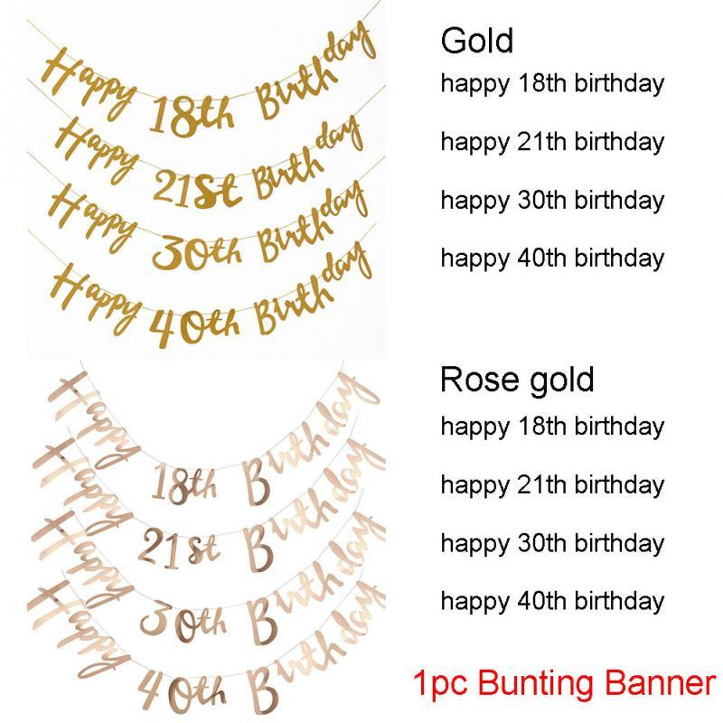 1.5m Glitter Happy 18 21 30th Birthday Banner Thirty Anniversary Party Decor 40 Birthday Party Decorations Gold/Black/Silver