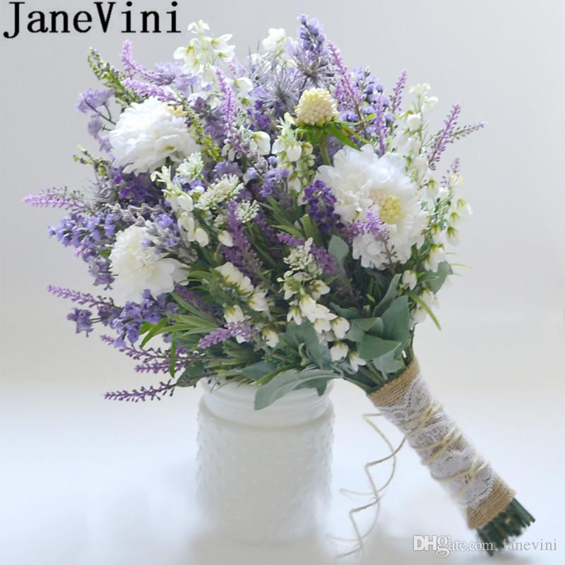 JaneVini Lavender Purple Artificial Wedding Bouquet For Brides 2018 ...