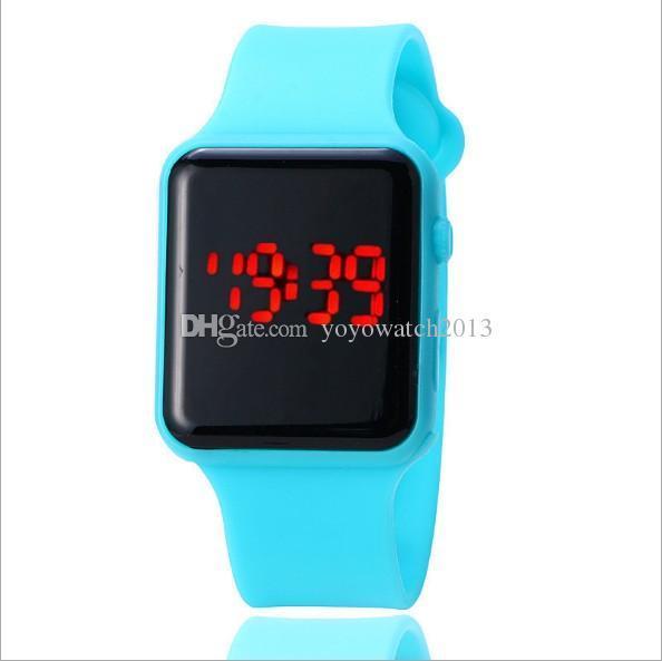 dc618467b952 Compre Nuevo Espejo Cuadrado Cara Silicona Reloj Digital Luz Roja Carcasa  De Aleación LED Relojes Reloj De Pulsera De Cuarzo Sport Reloj Horas A   89.35 Del ...
