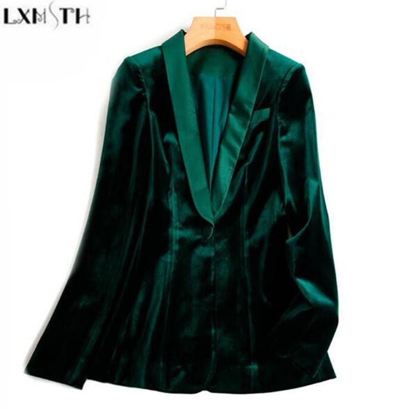 dd9e4802a25b4 LXMSTH Green Velvet Blazer Women Autumn New 3XL Plus Size One Button Formal  Slim Ladies Blazers 2017 Winter Office Suit Coat
