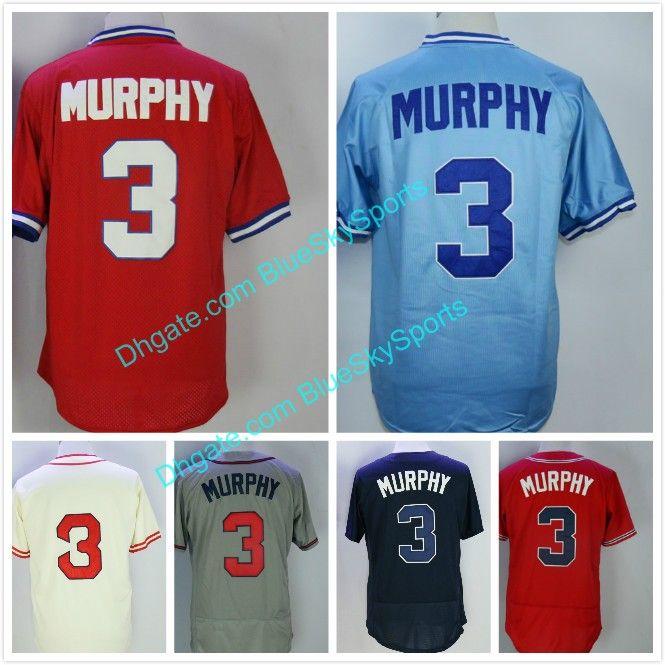 d4313bf1b Men's 3 Dale Murphy Jersey Atlanta Baseball Jerseys White Red Blue ...