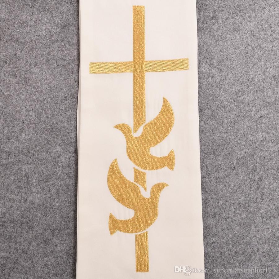 Minister Klerus stahlen Religion Gold Kreuz w Hochzeit Ringe Rmbroidered Heilige Taube stahlen hohe Qualität schnelle Lieferung