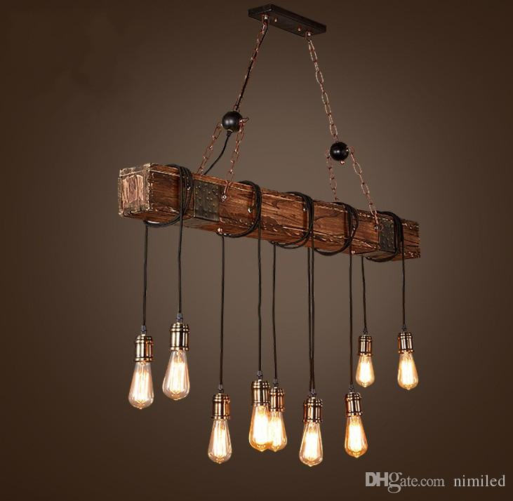Loft Style Creative Wooden Droplight Edison Vintage Pendant Light Fixtures For Dining Room Hanging Lamp Indoor Lighting LLFA Ceiling Unique