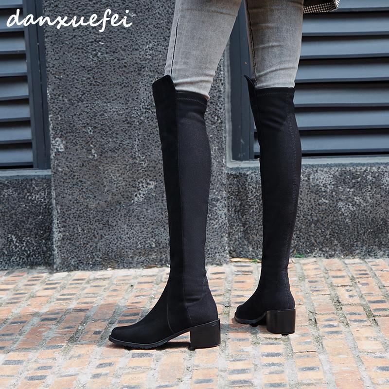 Compre De Gamuza De Cuero Genuino De Las Mujeres Del Remiendo De La Tela  Patchwork Botas De Invierno Sobre La Rodilla Ocio Botas Largas Zapatos  Negros ... f003ba2eb650