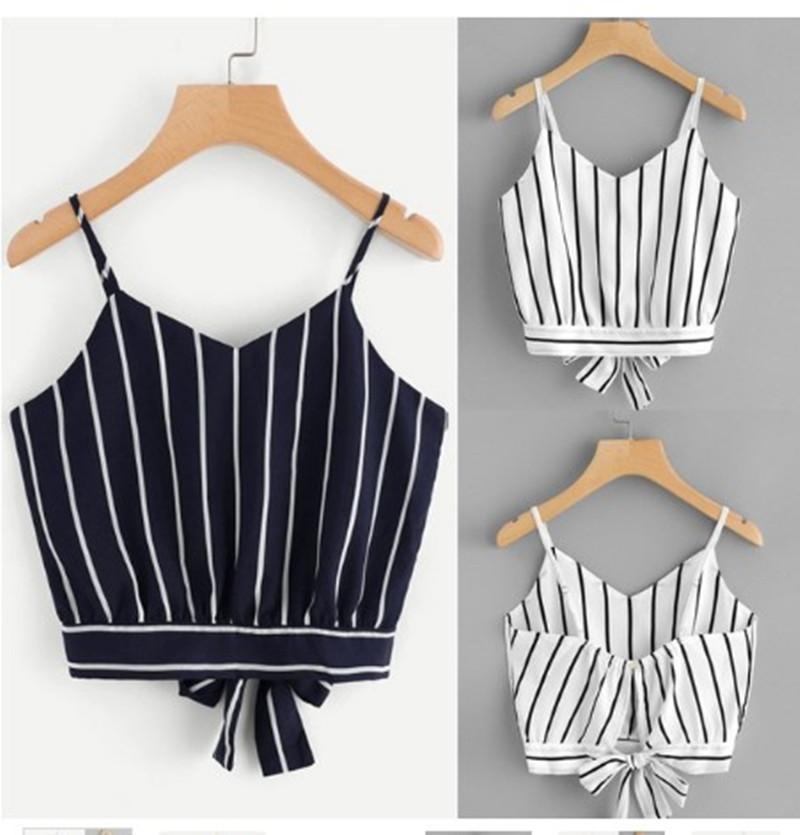 777557e7909 2018 Sexy Women Clothes Crop Tank Tops Cami Spaghetti Strap Bow Vest Knot  Striped Tie Back Cropped feminino vetement femme