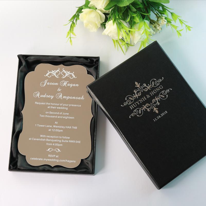 Cartes D Invitation De Mariage En Acrylique Argenté Personnalisé à Imprimer Personnalisées Avec Boîtes étirées