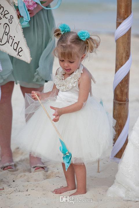 Princess beach flower girls dresses for weddings 2018 halter neck backless knee length tulle short party communion dress