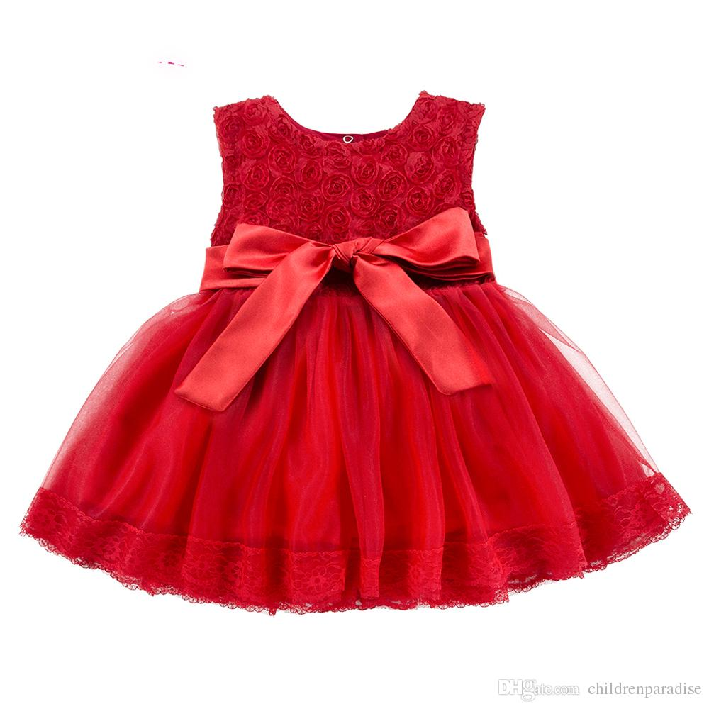 Lace Red Girls Dress Rose Tutu Dress for Wedding Clothes with Bow Knot Infant Girls Clothes White/Light Pink Baby Clothing 2018