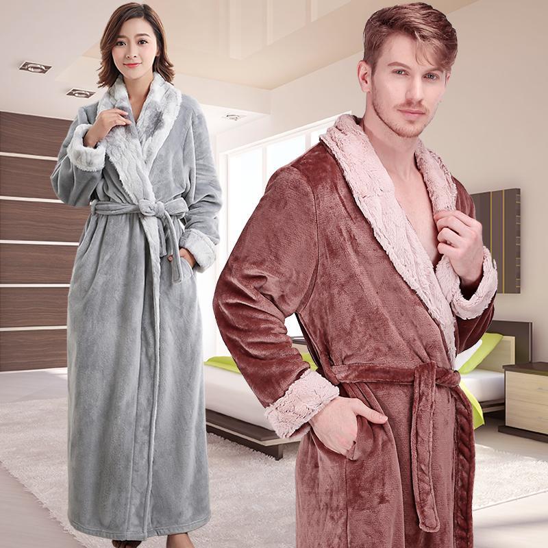 2018 New Men Women Winter Extra Long Thick Warm Flannel Bathrobe ...