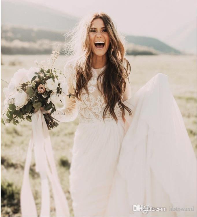 Vestidos de Casamento Do País boêmio Com Sheer Mangas Compridas Bateau Pescoço Uma Linha Lace Applique Chiffon Boho Vestidos de Noiva Barato