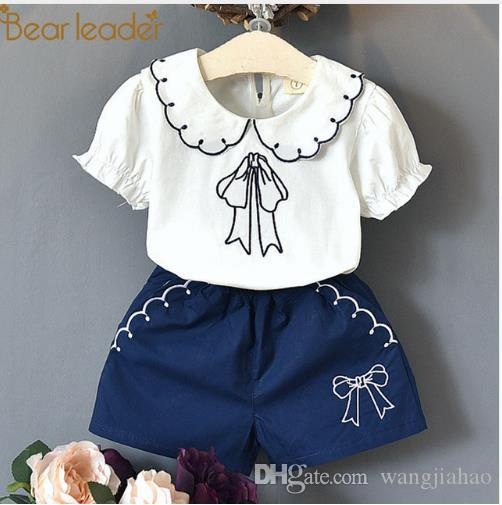 71c74726ac1 2019 Bear Leader Girls Clothing Sets 2018 New Summer Bow Print T ...