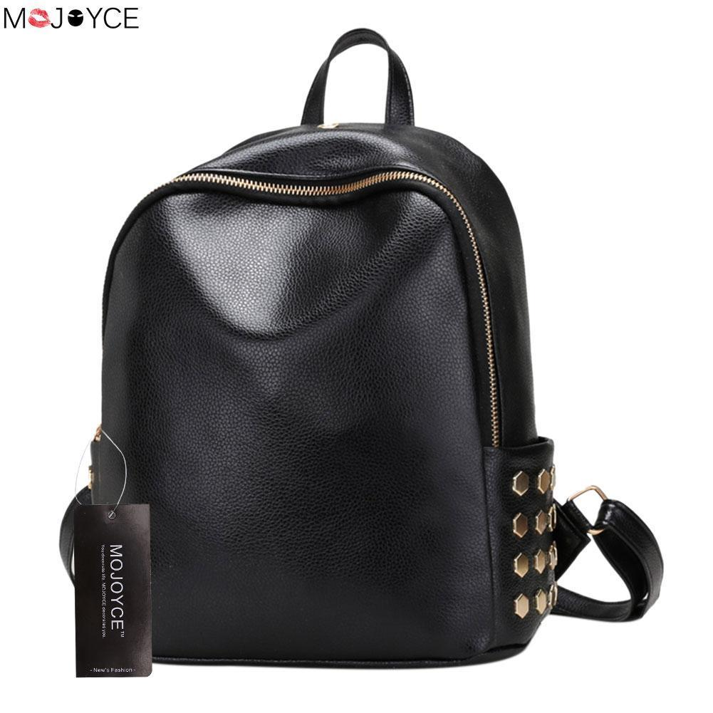 9a2059ddad 2017 High Quality Pu Leather Women Backpack Rivet Women Schoolbag For  Teenage Girls Backpack Fashion Backpack Travel Bag Camping Backpack  Backpacks From ...