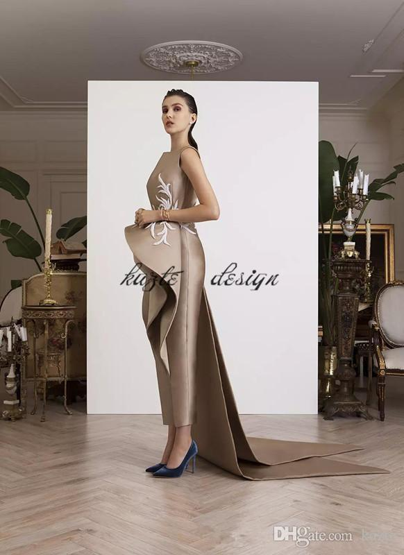 New Fashion Krikor Jabotian Jumpsuits Prom Dresses Bateau Sheath Formal Evening Gown With Peplums Custom Made Prom Party Dress