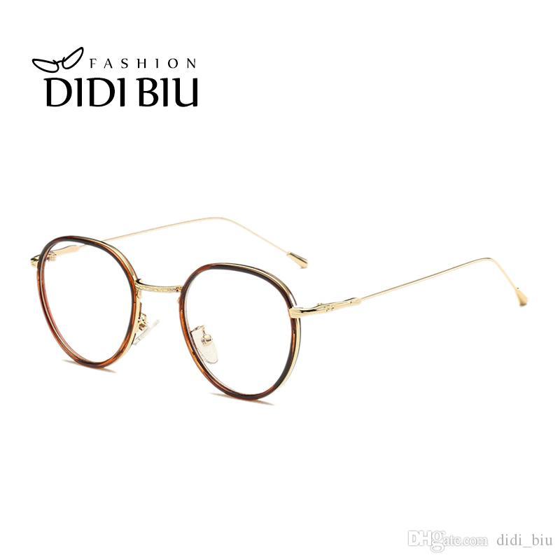 a87e74756c4b DIDI Vintage Round Leopard Transparent Glasses Women Men Brand Ultra ...