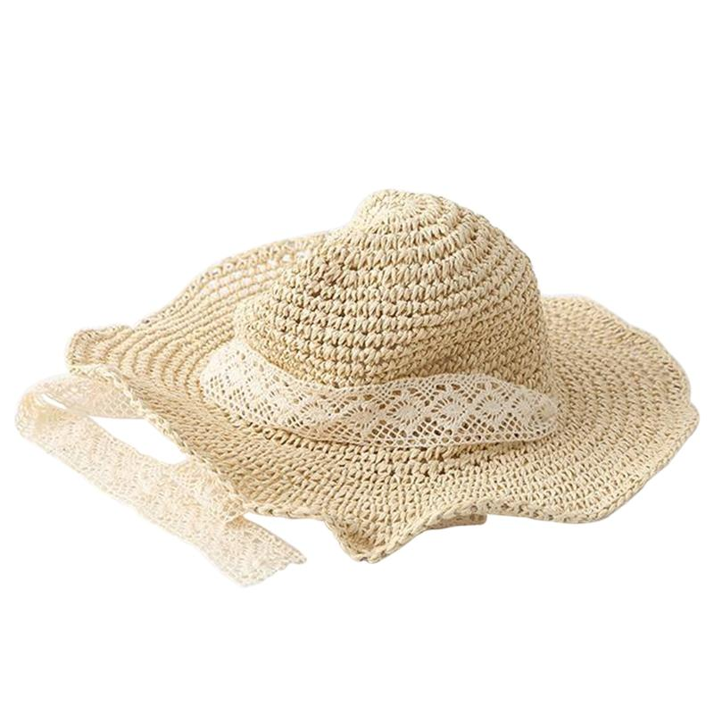 0b55e60774a ... best value 3122f cb4b5 Summer Women Flexible Lace Straw Sun Hat Floppy  Foldable Beach Cap Wide ...