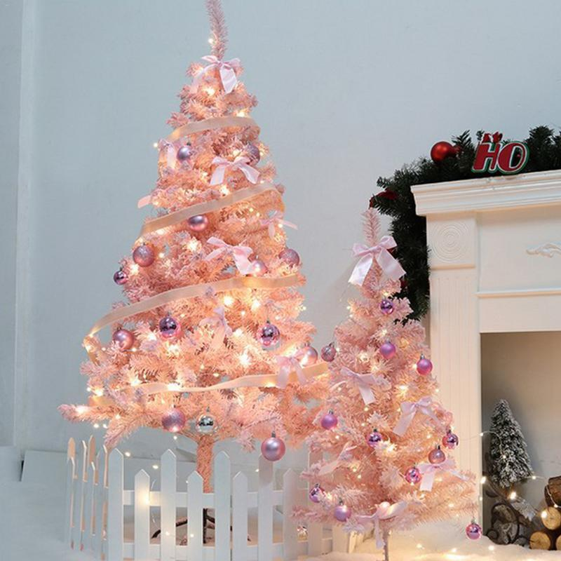 Artificial Christmas Tree Decoration For Home Happy New Year Xmas Party Ornament Diy Led Colorful Bell Pink Xmas Tree Decoration