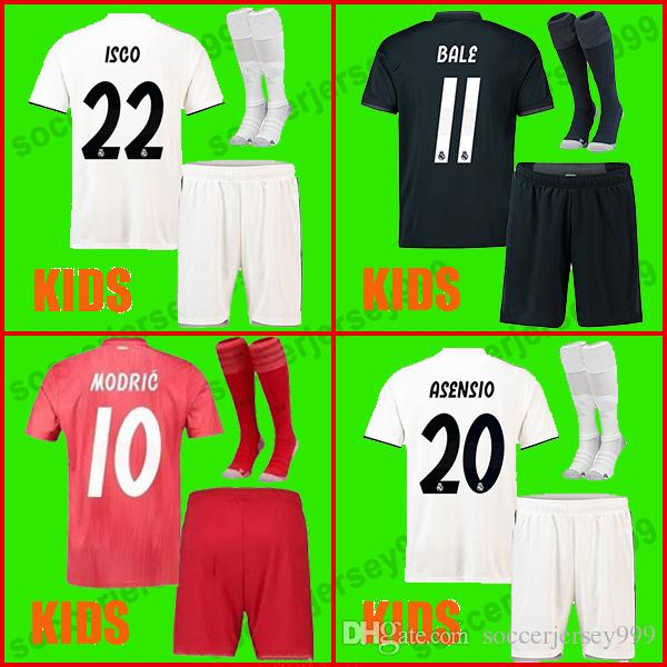 e0dc836ac Real Madrid Jerseys Kids Kit Boys 2018 2019 Soccer Jersey MODRIC ASENSIO  VINICIUS JR Football Shirt Uniforms BALE RAMOS 18 19 ISCO Camiseta UK 2019  From ...