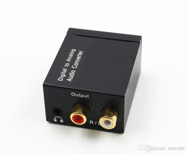 디지털 아날로그 오디오 컨버터 어댑터 광학 동축 RCA Toslink 신호 아날로그 오디오 컨버터 RCA Fible 케이블 소매 포장