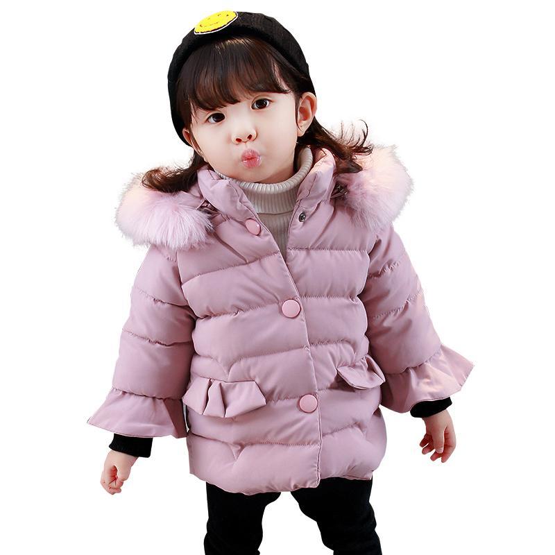b3fbf4198 2018 Girls Winter Coat Children Jackets Cotton Parkas Kids Fur ...