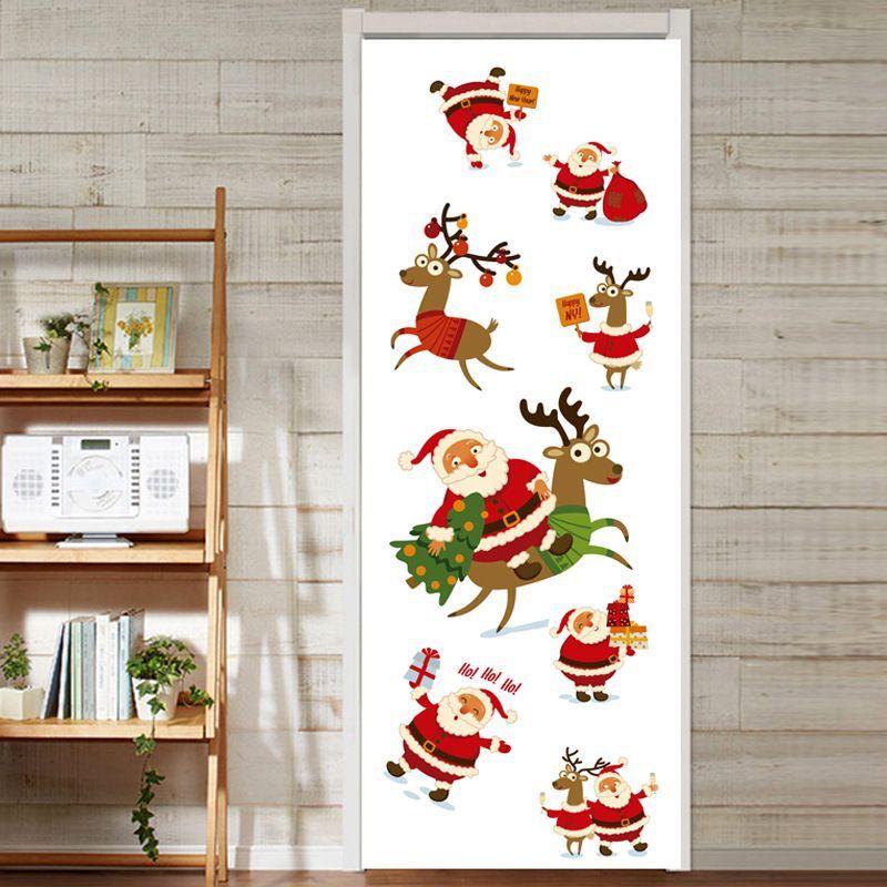 Großhandel Weihnachtsmann Weihnachten Elch 3d Tür Aufkleber Tapete ...