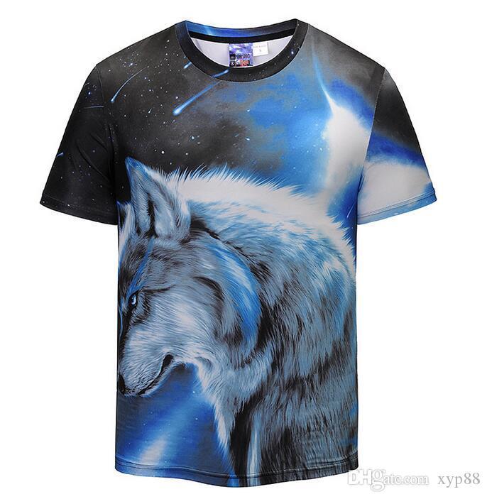 5025e6c60685 2018 Fashion Harajuku Luxury Tees Mens Designer T Shirt Men S 3D Wolf Print  Tshirts Summer Short Sleeve Casual Cotton Brand T Shirts Mens T Shirt Cool  ...