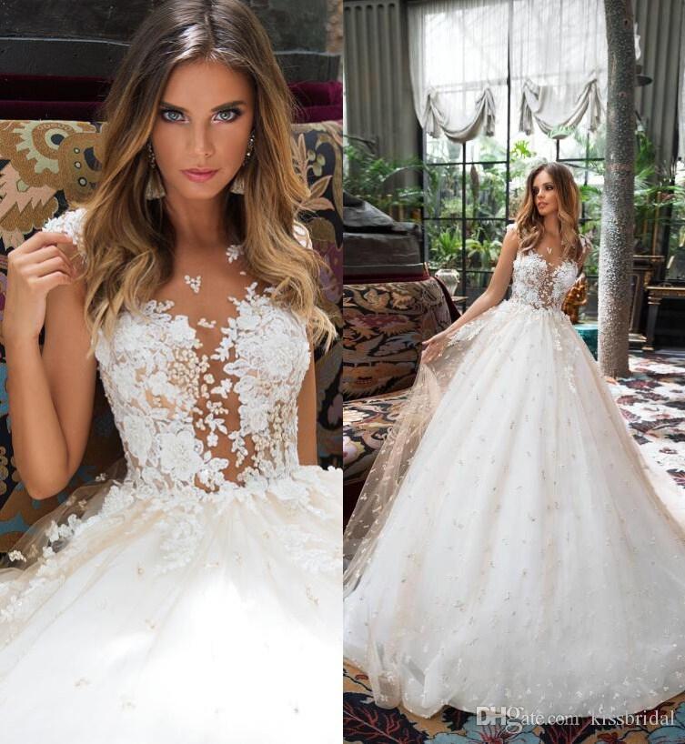 Milla Nova 2018 Champagne Lace Wedding Dresses A Line Boho