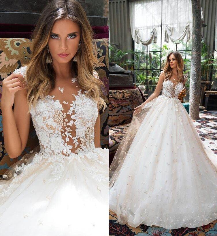 Milla Nova Champagne Lace Wedding Dresses A Line Boho Pearls Bridal Gowns Illusion Sheer Dubai 3D Floral Wedding Gowns