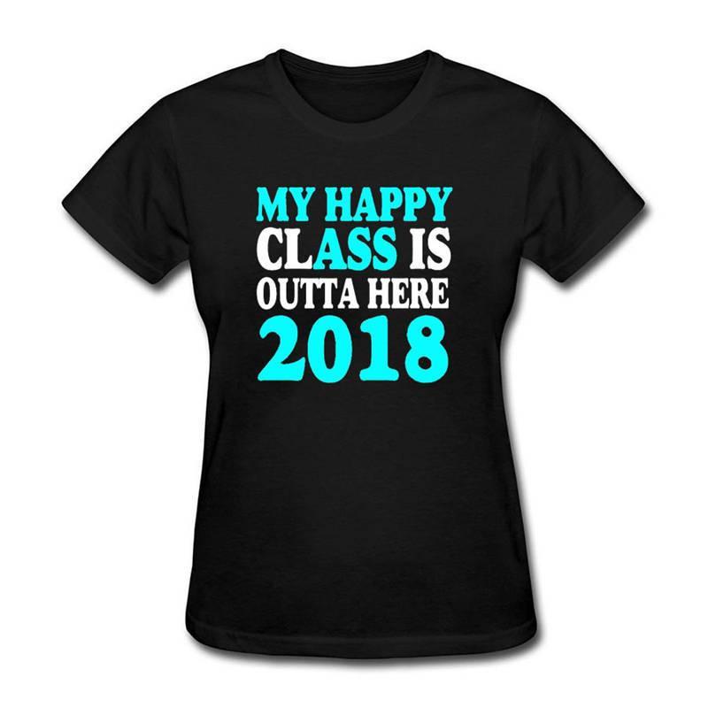 95ffcac9a0 Compre Camisetas Moda 2018 Roupas Femininas Moda O Pescoço Curto Luva Minha  Classe Feliz É Outta Aqui Camisetas De Customarketingshirts