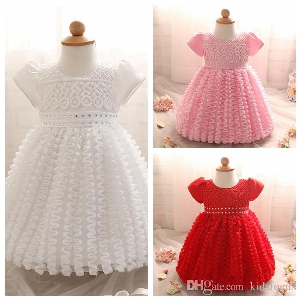 Best Newborn Infant Baby Girl White Crochet Tulle Princess Dress