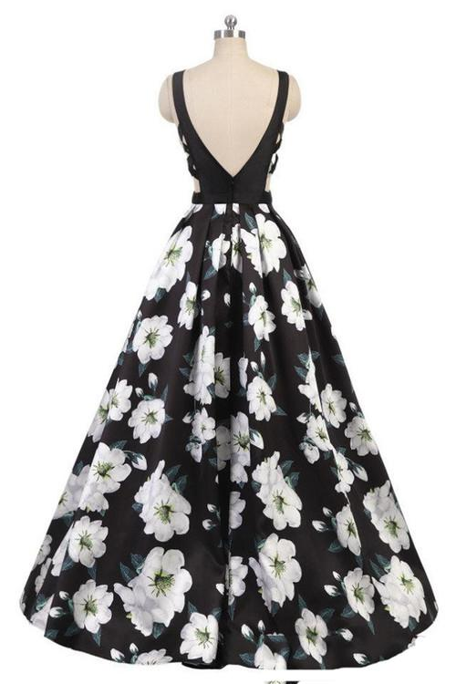 2018 new style printing evening dresses deep V-neck sexy formal evening dress for women lace-up prom dresses floor-length prom gowns