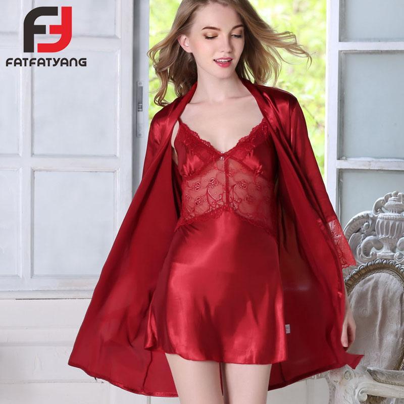 060fb52b676 2019 Women Robe Sets Sexy Lace Bathrobe Faux Silk Nightgown Elegant Robe  And Skirt Set Lady S Sleepwear Nightwear Lingerie Set From Lucycloth