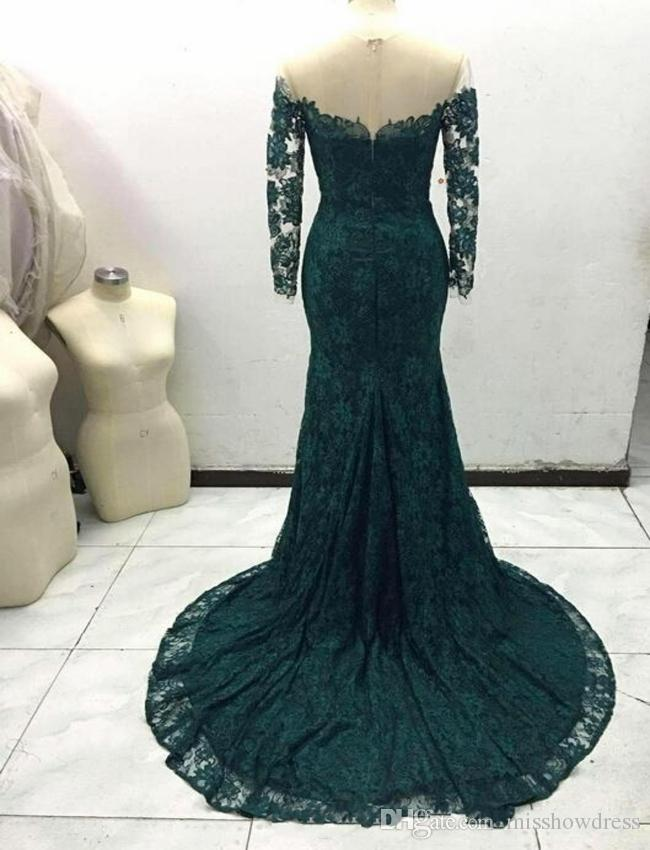 2018 Sexy New Emerald Green Mermaid Evening Dresses Sheer Long Sleeves Mesh Sweep Train Evening Gowns Cheap Real picture Plus Size Custom Ma