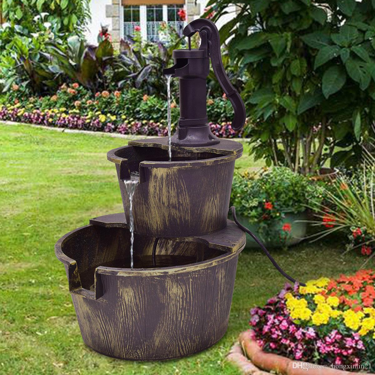 2019 3 Tier Barrel Waterfall Fountain Barrel Water