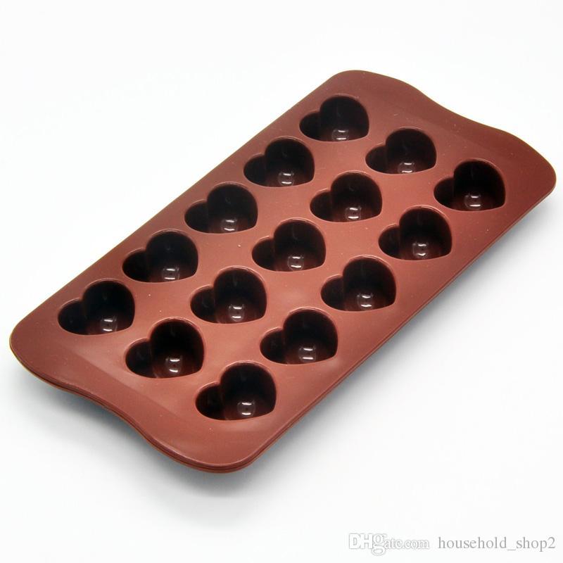 2018 Stampi cioccolato antiaderente in silicone 15 cavità Amore a forma di cuore Stampi gelatina Stampo dolci Utensili pasticceria