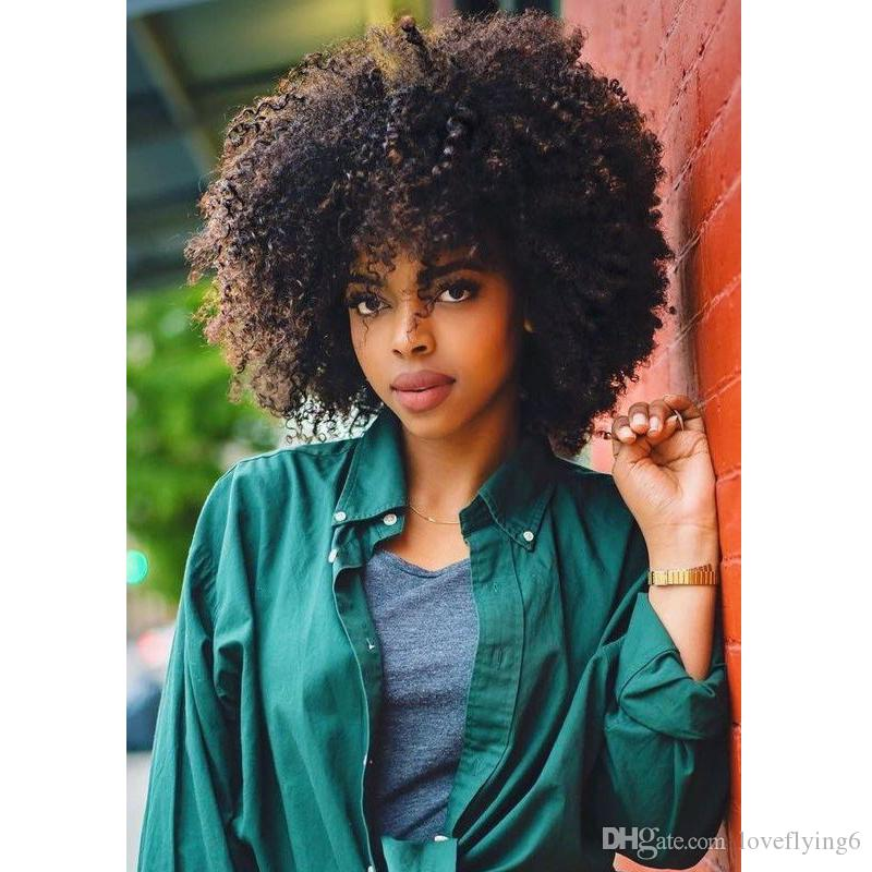 hot brazilian Hair African Ameri short afro kinky curly wig Simulation Human Hair curly wig with bang