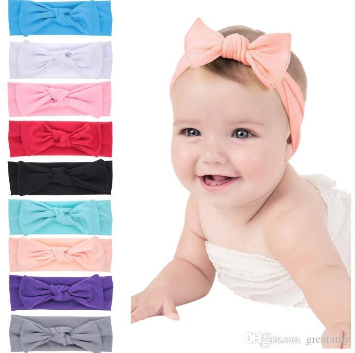 сплошной цвет ребенок заставки в 2018 году нового стиля новорожденного чистого цвета ухо кролика аксессуары бант волосы младенец малыш heandbands детьми ленты для волос