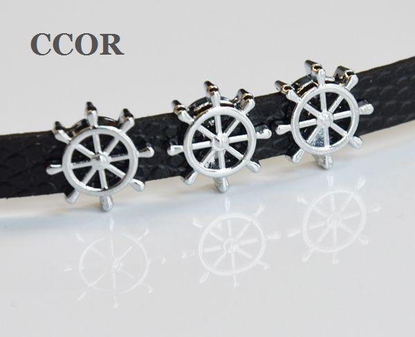 8mm Navio Navio Barco Roda Leme Slider Encantos Beads Fit 8mm Nome Colarinho Cintos Pulseira Pulseira Jóias
