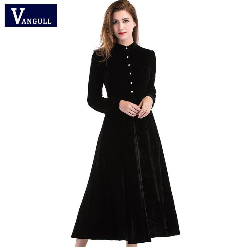 4f9a8a5ab9c08 2019 New Women Black Velvet Dress Spring Winter Dresses Women 2018 Vestido  Long Sleeved Maxi Long Party Dresses Robe Longue Femme From Piaose, ...