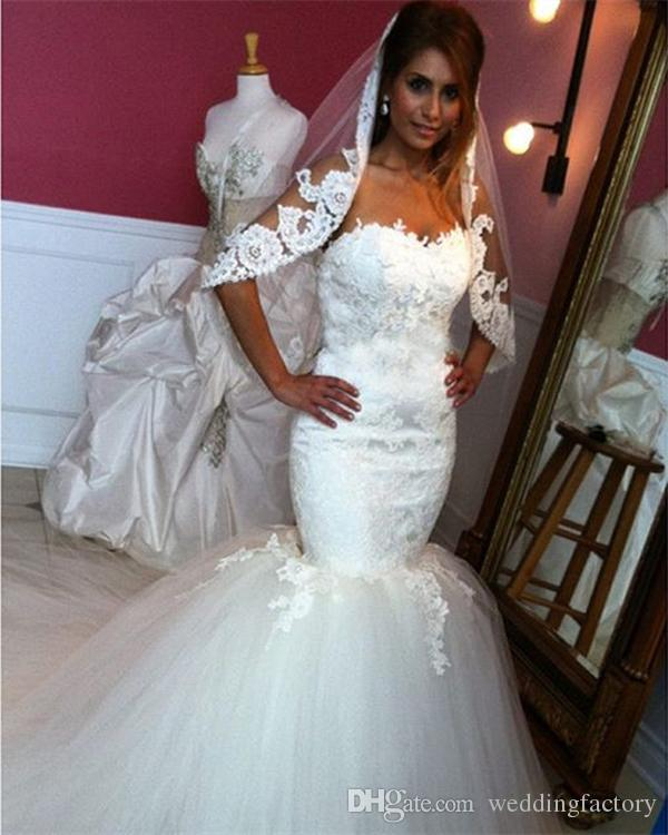 Gorgeous Mermaid Wedding Dress Cheap High Quality Bridal Gowns Sweetheart Sleeveless Lace Appliques Top Puffy Tulle Trumpet Dress