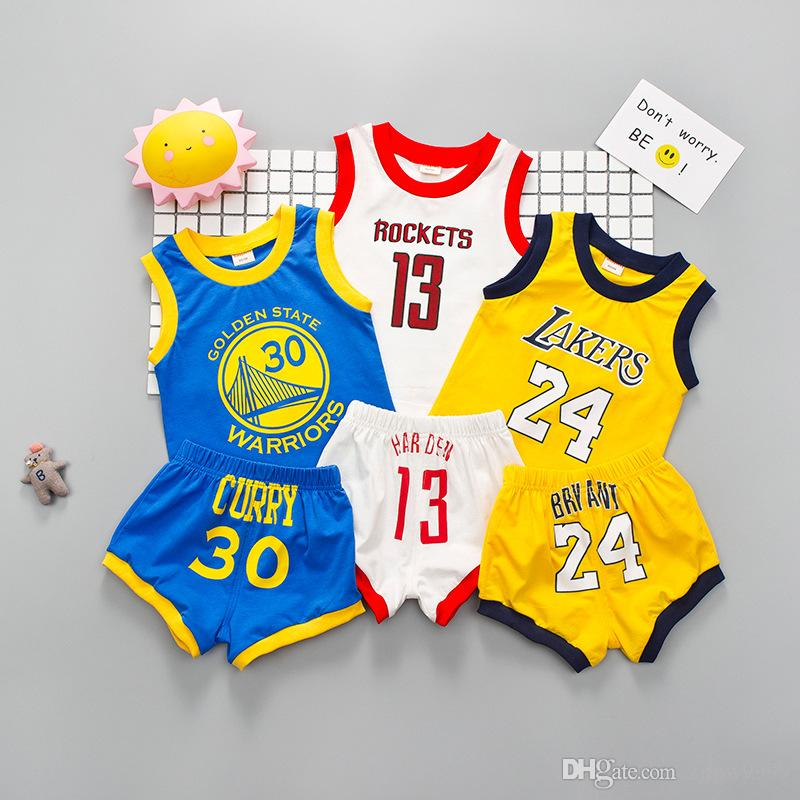 HOT Baby Boys Girls Sports Sets Children Basketball sports suits 13 Rockets T Shirts + Shorts 2pcs Sets Kids Clothing