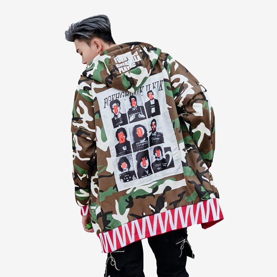 cd248aea6 2019 Windbreaker Hip Hop Trench Hooded Men Punk Rave Long Trench ...