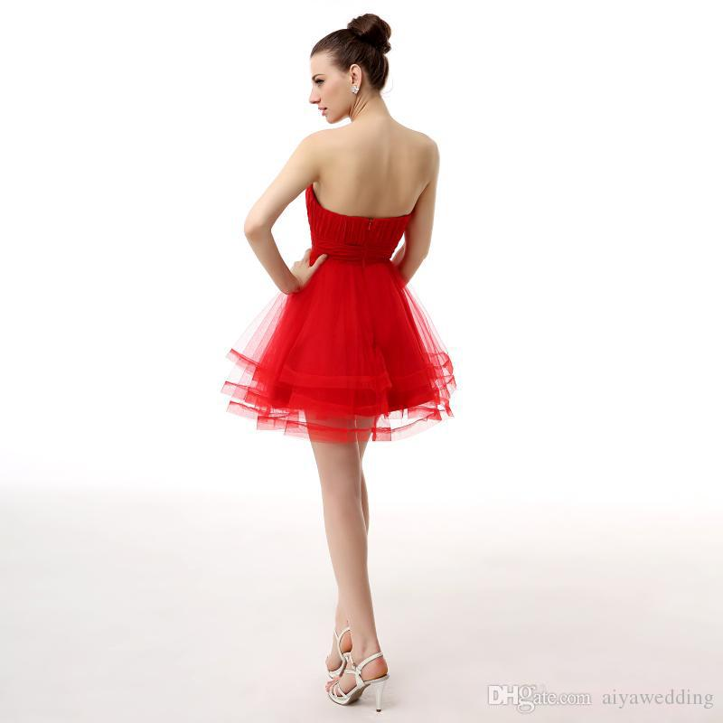 2019 Short Mini Homecoming Dresses Red Sweetheart Ruffles With Crystals Zipper Back Graduation Cocktail Party Wear For Juniors