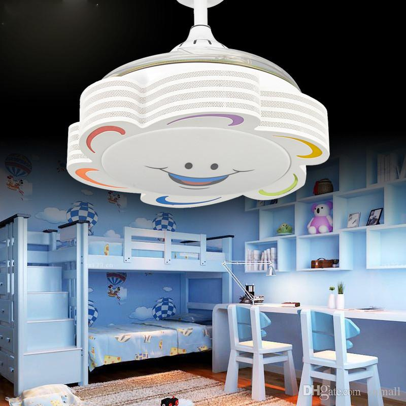 Invisible Children fan light 36inch kid ceiling fan lamp for children  bedroom with 30W led color dimming 220V/110V