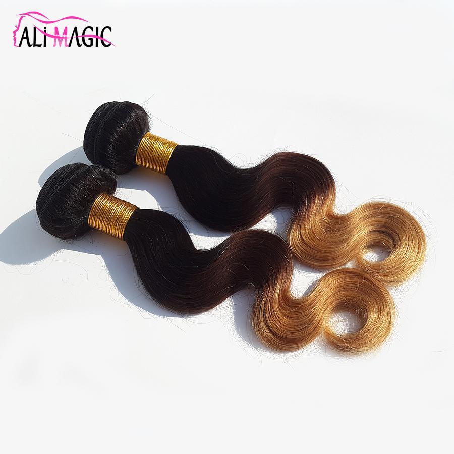 Alimagic مصنع المخرج ثلاثة لهجة الجسم موجة أومبير الشعر نسج 1b / 4/27 شقراء أومبير العذراء الإنسان الشعر 3 قطع 100 جرام / قطع البرازيلي بيرو