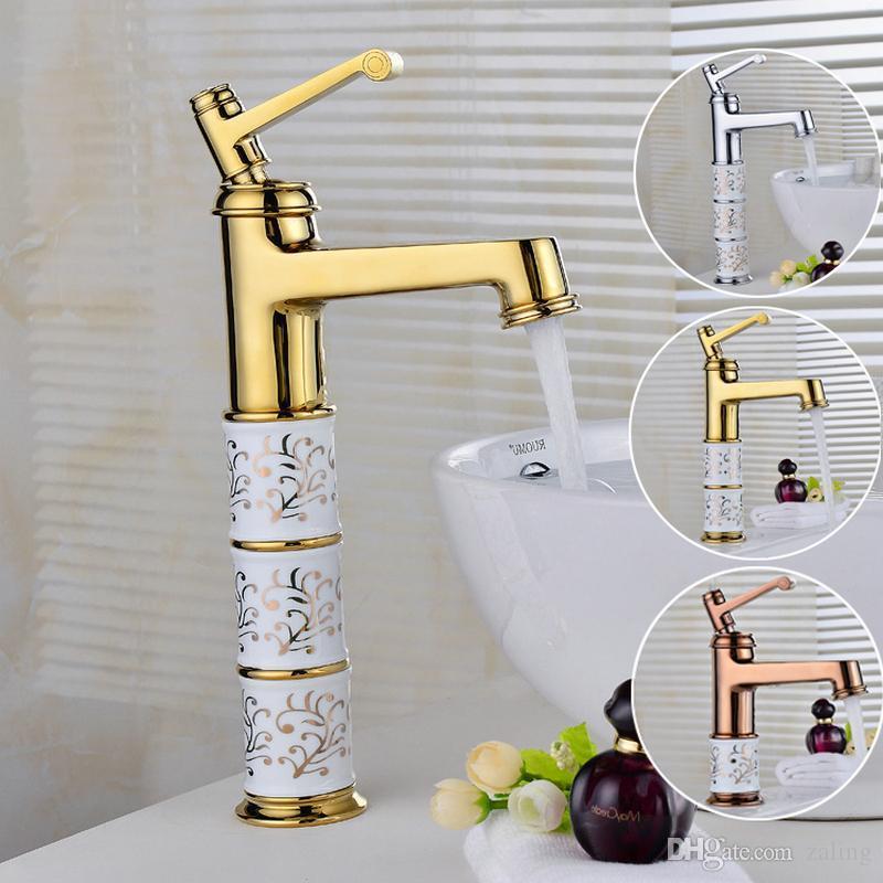 Bathroom Basin Faucets Hot Cold Mixer Brass Faucet Mixer Tap chrome/gold/antique Porcelain Base Newly Faucet