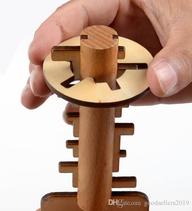 Brinquedo de madeira Desbloquear Puzzle Chave Clássica Engraçado Kong Ming Bloqueio Brinquedos Educacional Intelectual Para Crianças Adulto