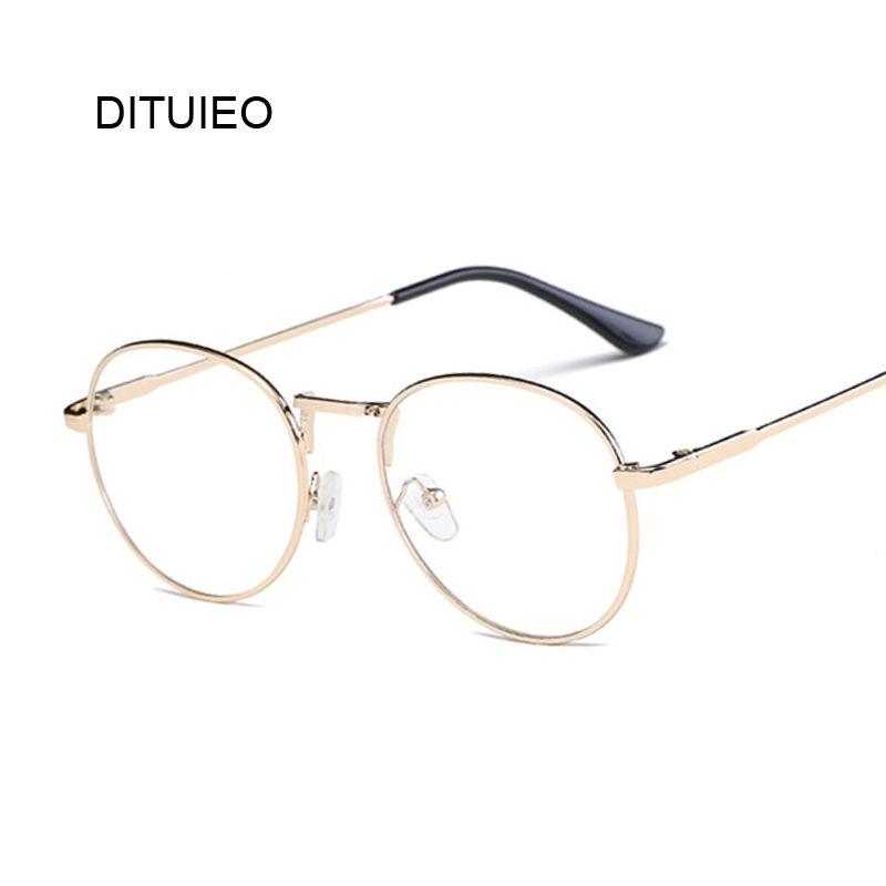 46ae23386 Compre Vintage Transparente Mulheres Óculos De Metal Completo Quadro Óptico  Redondo Lente Óculos Feminino Homens Limpar Leitura Simples Senhora De  Qiuyeluo, ...